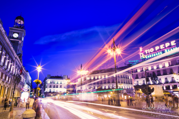 Light Trails at la Puerta Del Sol Madrid